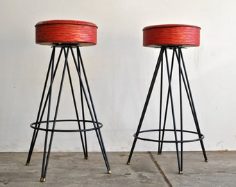 Extra shipping - Mid Century Barstools - black and red - Swivel Seat - Vintage Furniture