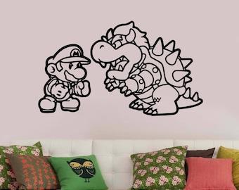 Super Mario Wall Decal Vinyl Sticker Cartoon Art Decorations for Home Boys Kids Childrens Room Nursery Video Game Decor sum1