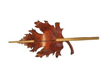 Handmade Leather Maple Leaf Barrette - oak leaf, hair barrette, stick barrette, leaf barrette, autumn leaf, hair stick, Leather Barrette
