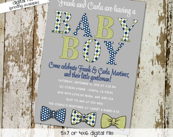 little man bow tie baby shower invitation boy gentleman twins birthday diaper wipes brunch couples coed retirement | 1230 Katiedid Designs