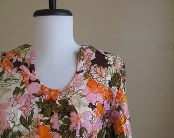 Vintage 1960s Maxi Dress / Sandy Lane / Medium. Hippie Retro Psychedelic.