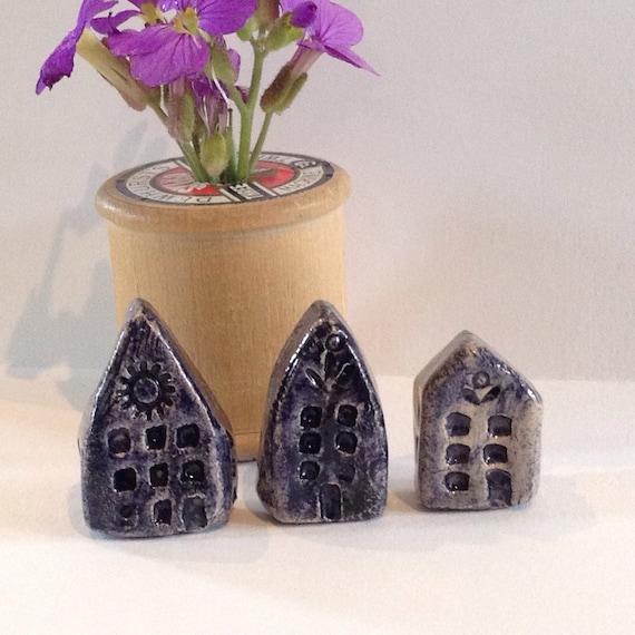 Set of 3 tiny ceramic houses. Handmade, handglazed, House, home, colour, house-warming, gift.