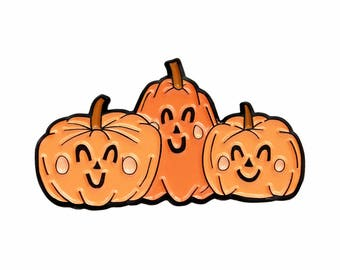 Happy pumpkins autumn fall Halloween enamel lapel pin