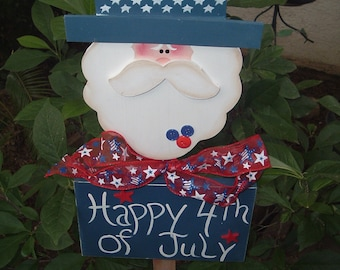 Uncle Sam Happy 4th of July Garden Stake