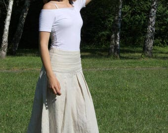 SLAVENA -  linen skirt 100% flax