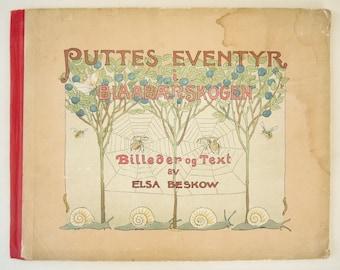 Elsa Beskow Antique Swedish Children's Book Puttes Eventyr Blaabaerskogen Peter in Blueberry Land 1923 Edition