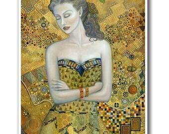 Signed 8 x 10 Print Fairy Art Nouveau Goddess Victorian Autumn Fall Klimt Inspired Art B. K . Lusk