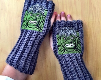 Kids HULK MARVEL Arm warmers / Fingerless gloves / Wrist warmers handmade