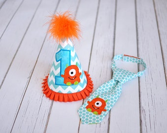 Little Monster Aqua Orange Turquoise Party Hat and Little Guy Tie - Lil Monster First Birthday Party Cake Smash Outfit