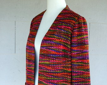 Vintage Blazer / 60s Psychedelic Jacket / Small / Retro Fashion / Women Clothing / Rainbow Color Graphic Print / Psychedelic Clothing