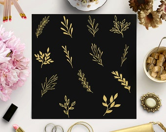 Gold Glitter Plants Clip Art, Hand Drawn Plants, Flowers And Leaves, Floral Ornaments Clip Art, Coupon Code: BUY7FOR10