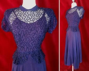 Navy Sheer Soutache 1940s Dress. 40s Dress with Swishy Swing Skirt.