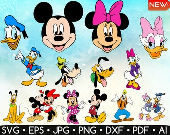 Disney Characters Clipart • Mickey Mouse Svg • Minnie Mouse Svg • Disney Svg • Donald Duck Svg • Svg Files For Cricut • Instant Download