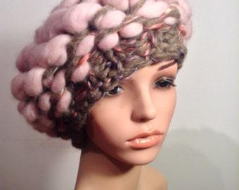 Giant knit merino roving hat