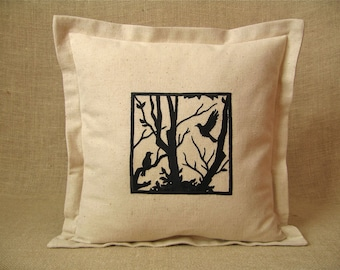 Two Black Birds In A Winter Tree Silhouette Embroidery Pillow Cover
