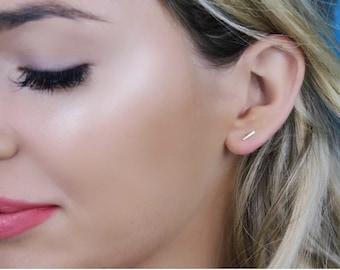 Gold Bar Earrings, Tiny Line Studs, Stud Earrings, Staple Earrings - 14K Yellow or White Gold, Celebrity Inspired
