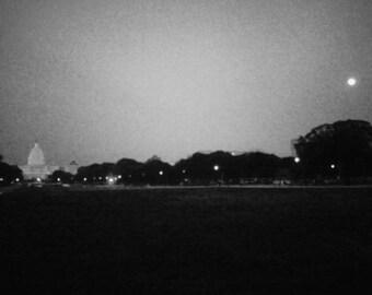 The Moon and the Capital Washington D.C.-- Fine Art Photography (4x6 BW print)
