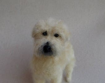Needle Felted Miniature Dog OOAK Soft Coated Wheaten Terrier Custom Pet Portrait Special Order