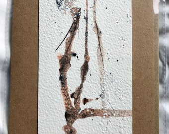 Individual Original Hand Painted Abstract Art Card, Splattered branches, Mixed Media