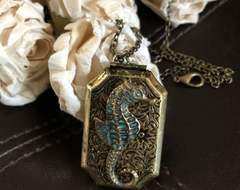 seahorse locket, seahorse necklace, seahorse gift, seahorse jewelry, nautical gift, ocean jewelry