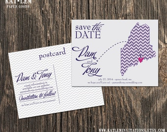 Maine – Save the Date – Bangor, Waterville Destination Wedding – Wedding Save the Dates