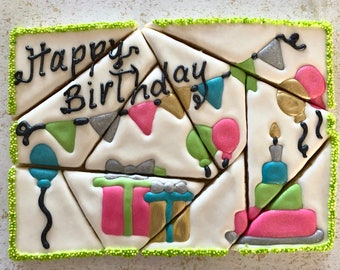 Custom SURPRISE theme PUZZLE cookie sets.  You choose theme, design, colors.  We're pregnant, gender reveal, congratulations, birthday, gift