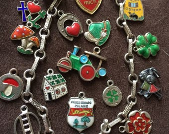 18 Vintage Charm Bracelet German Enameled Charms