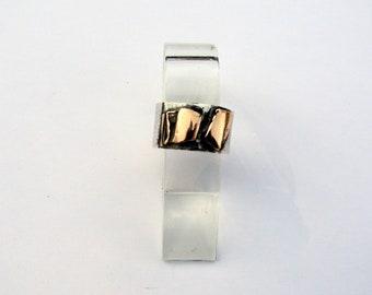 ring silver copper mixed metal ring, wide ring, women, men ring, ring, designer
