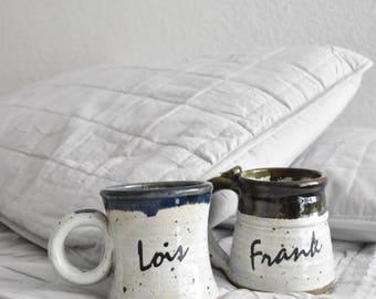 stoneware Frank Lois name coffee mugs / listing is for a single mug