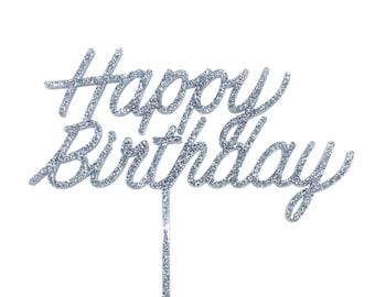 Happy Birthday cake topper in Silver glitter acrylic
