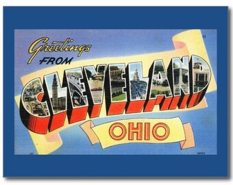 Large Letter Greetings from Cleveland, Ohio OH REPRO Vintage Postcard R998480
