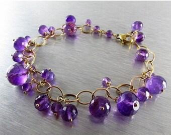 15% Off Amethyst and Gold Filled Bracelet
