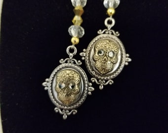 Gorgeous One of a Kind Silver Sugar Skull Earrings with Swarovski Crystals and Beads