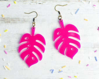 Cheese Plant Earrings in Hot Pink | Nickel Free Earrings | Monstera Dangle Earrings | Statement Jewellery | Plant Lover Gift
