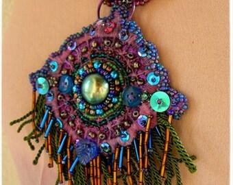 GULNARA Arabian style PENDANT, for Artists Exposed, Beaded crochet pendant, Tribal fusion Dark Boho pendant, similar for order