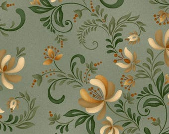 Plain & Simple Folk Art Sage Green designed by Color Principle for Henry Glass, 100% Premium Cotton by the Yard