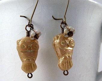 Hooters.. Golden glass owl, czech glass flower & antiqued gold earrings