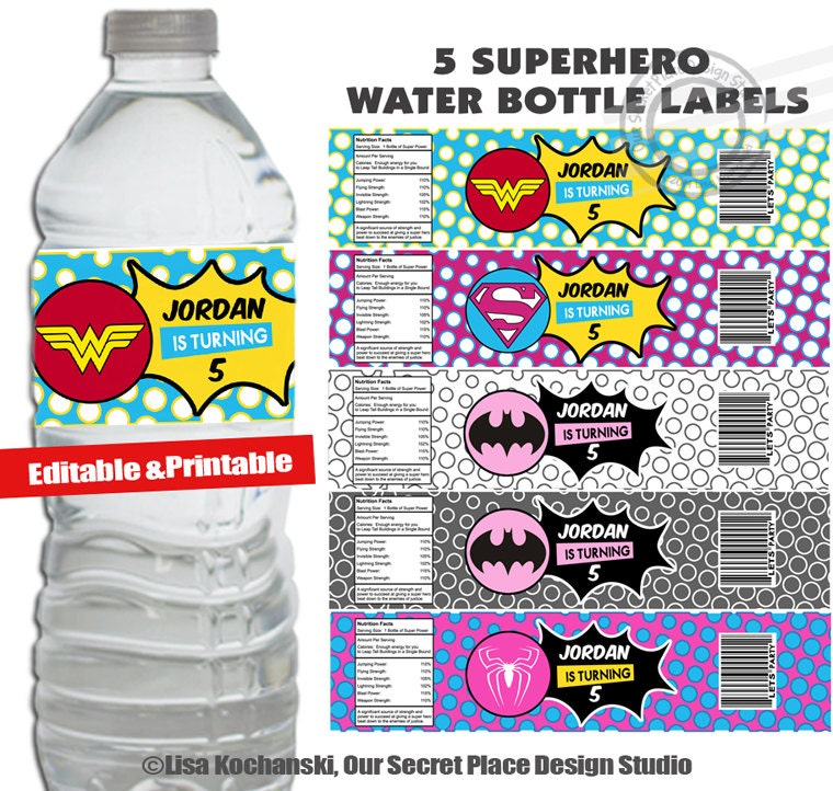 instant download personalized girl superhero water bottle