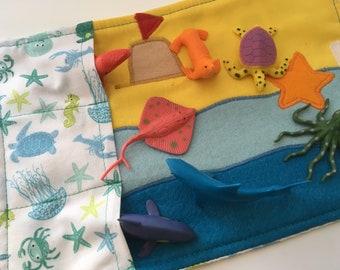 Seaside beach toy carrier roll play mat
