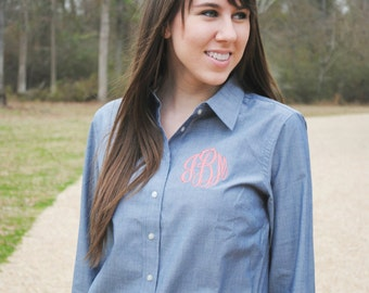 Chambray Monogrammed Button Down Shirt