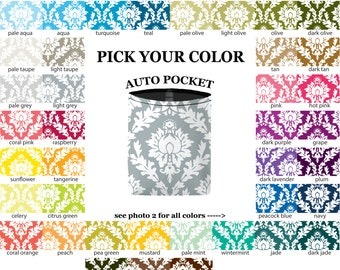 Auto Pocket - Damask - PICK YOUR COLOR - Car Accessory Automobile Caddy