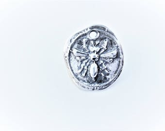 925 sterling silver bee charm, disc with bee, sterling silver bee charm, silver  bumble bee, bee charm, flying bee, bee charm
