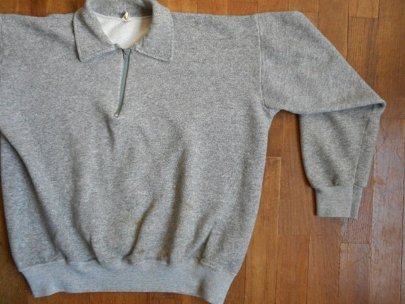 vintage 70s pullover grey zip up chest point collar sweatshirt creslan cotton rayon active wear s4khY