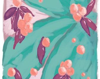 Australian Flower Abstract Art Print Green Pink