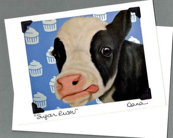 Cow Card - Birthday Card - Cow Birthday Card  - Proceeds Benefit Animal Charity
