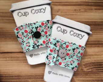 Floral Cup Cozy. Cup Sleeve. Coffee Cozy. Reusable Cup Cozy. Floral Cup Sleeve. Floral Accessories. Coffee Accessories. Rose Cup Cozy.