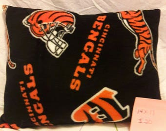 Cincinnati Bengals pillow gift for Tailgate party, Man Cave, Birthday, Valentines Day. NFL Bengals, Black Orange fleece by Vintage Angel