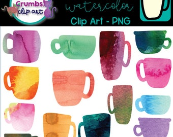 Watercolor Coffee Cups Mugs- PNG Download