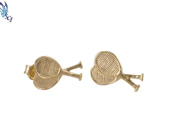 Large Gold Filled Tennis Racquet Post Earrings, Tennis Lover Gift, Tennis Player Gift, Tennis Team Gift, Tennis Player Gift, Studs, GFER38