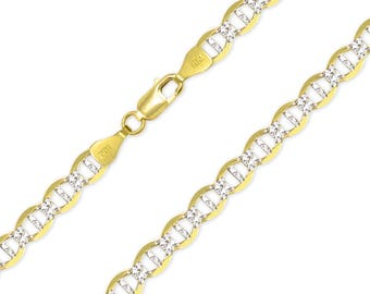 "14K Solid Yellow Gold White Pave Mariner Necklace Chain 6.5mm 20-26"" - Diamond Cut Anchor Link"